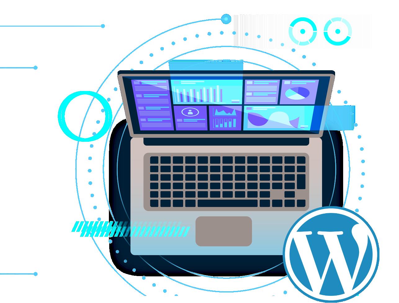 DGtise Affordable Website Design Bristol - WordPress Laptop Graphic